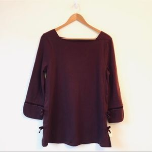 Talbots NWT Maroon Bow Detailed Top (S)